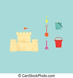 sand castle, shovel and a bucket on a blue background