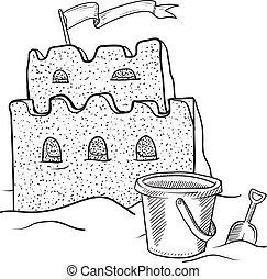 Sand castle sketch - Doodle style sketch beach sand castle...