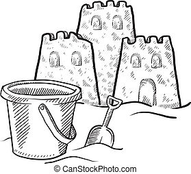 Doodle style sketch of beach sand castle construction in vector illustration.