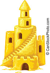 Sand castle with towers windows and stairs