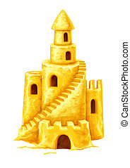 Sand fairy-tale castle with high towers window and stairs. Illustration isolated on white background