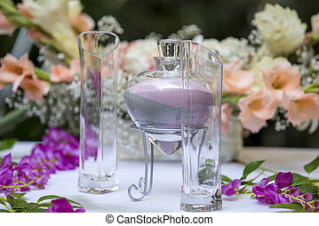 Sand Ceremony - Sand ceremony vase in a wedding with colored...