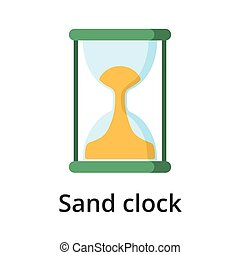 Sand clock flat vector illustration. Single object. Icon for...