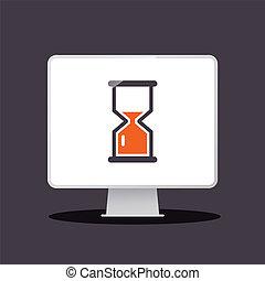 Sand Clock - Hourglass Icon on Computer. Vecto App Icon.