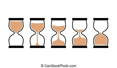 Sand clock time icon. Hour glass sand watch timer. Hourglass illustration flat sandclock.