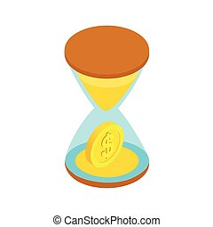 Sand clock with gold dust and coins icon