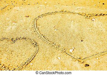 sand., corações, praia, desenhado