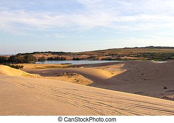 Sand desert and lake