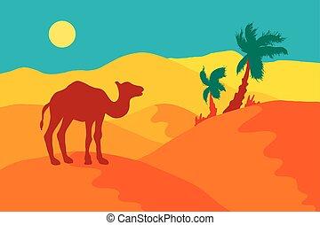 Sand Desert With Camel
