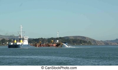 Sand Dredging ship - Otago Harbour, New Zealand, May 2012 -...
