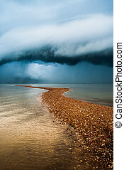 sand dune and rain storm