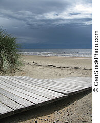 Sand dune boardwalk - Sand dune landscape with wooden ...