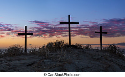 Sand Dune Calvary.dng - Three crosses on a sand dune with a...