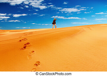 Sand dune climbing