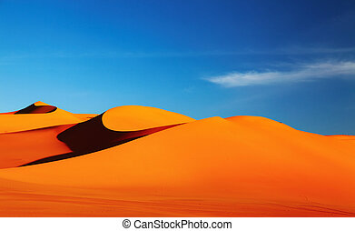 Sahara Desert - Sand dune in Sahara Desert at sunset