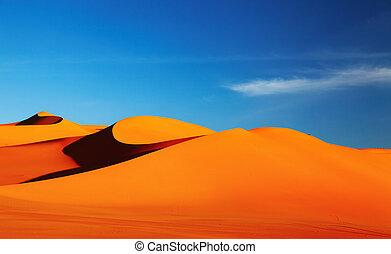 Sahara Desert - Sand dune in Sahara Desert at sunset