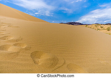 sand dune on a background of mountains