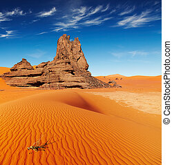 Sahara Desert, Algeria - Sand dunes and rocks, Sahara Desert...