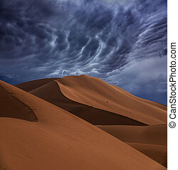sand dunes and storm clouds in desert
