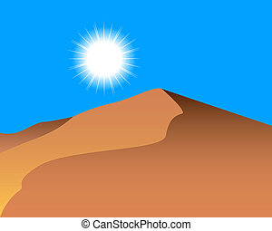 sand dunes and the sun in the sky