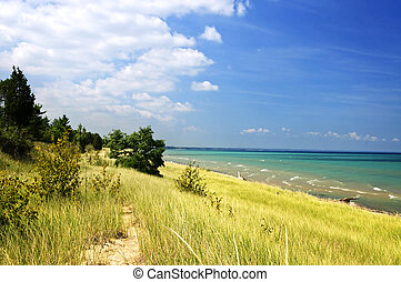 Sand dunes at beach shore. Pinery provincial park, Ontario ...
