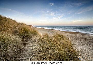 The beach and sand dunes at Hengistbury Head near Bournemouth in Dorset