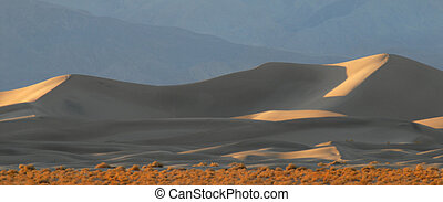 Sand dunes at sunset in Death Valley California