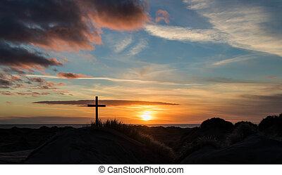 Sand Dunes Cross Sunset