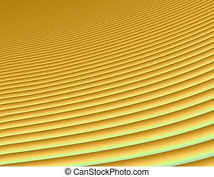 Sand dunes - Fractal rendition of golden sand dunes in a...