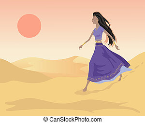 sand dunes - an illustration of of an asian woman walking in...