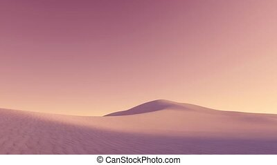 Abstract empty sandy desert with massive sand dunes covered by dust clouds under strange purple sky at dusk. Minimalist wilderness scenery 3D animation rendered in 4K