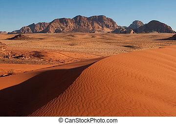 Sand-dunes in Wadi-Rum desert. - Sand-dunes in Wadi-Rum ...