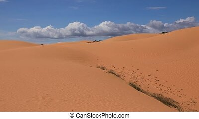 Sand dunes. Mui Ne, Vietnam - Panoramic video shot of red...