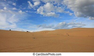 Sand dunes near Mui Ne, Vietnam - Panoramic video shot of...