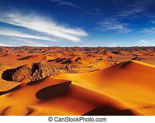 Sahara Desert - Sand dunes of Sahara Desert, Tadrart,...