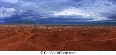 Sand dunes storm clouds in Gobi Desert