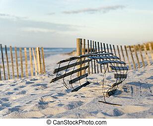Sand Fences at the Florida beach prevent erosion