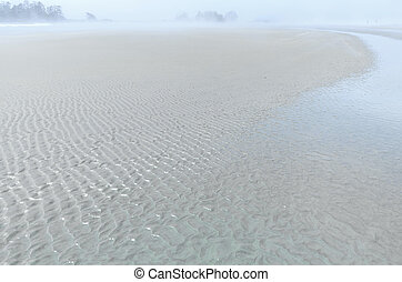 Sand forms waves on the seashore in the ocean mist. foggy skyline. sea landscape in bright colors. Selective focus, Vancouver island, Pacific Rim National Park, British Columbia, Canada