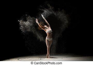 sand, frau, schlank, tanzen
