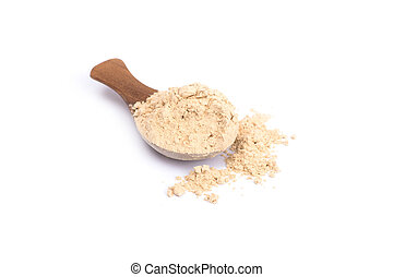 sand ginger (Kaempferia galanga) powder herb on wooden spoon...