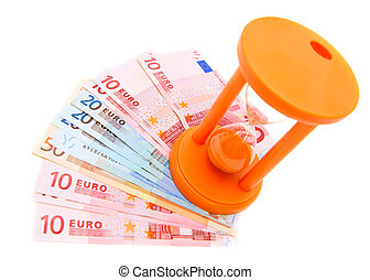 Sand-glass and banknote euro. On a white background.