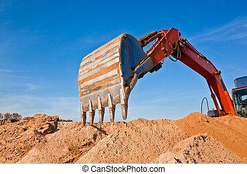 sand, graben, quarrying, bagger