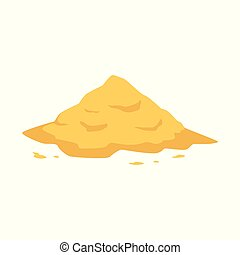 Sand heap in flat style isolated on white background.