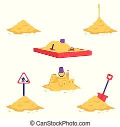 Sand heap vector illustration set - various piles of yellow dry powder.