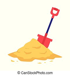 Sand heap with red shovel in flat style isolated on white background.