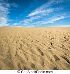 Sand in the Dunes of Maspalomas, a small desert on Gran Canaria, Spain. Sand and sky.