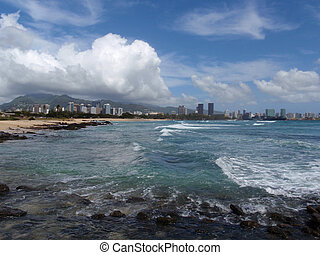 Sand Island Beach with Downtown Honolulu in the Distance