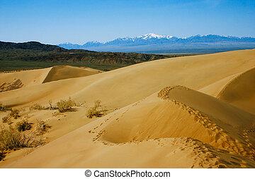 sand, kazakhstan., öken, parkera, altyn-emel, medborgare, dyner