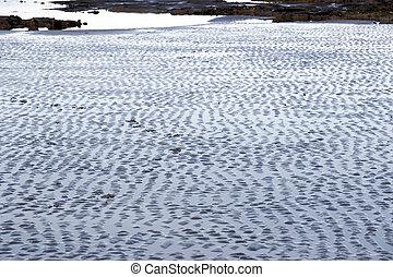 sand, kleine wellen, nasse
