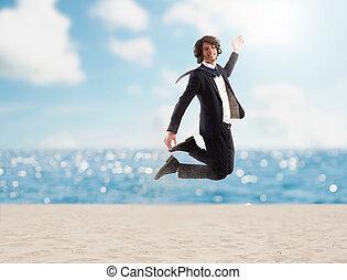 sand., kroki, pojęcie, urlop, biznesmen